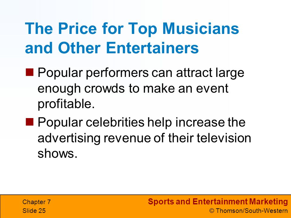 The Price for Top Musicians and Other Entertainers