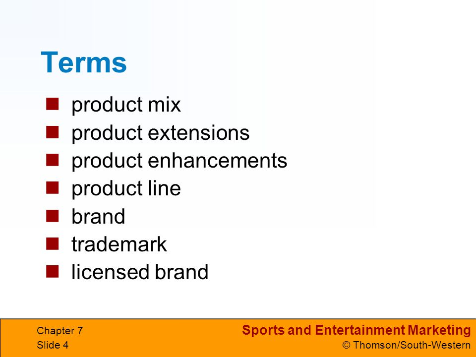 Terms product mix product extensions product enhancements product line