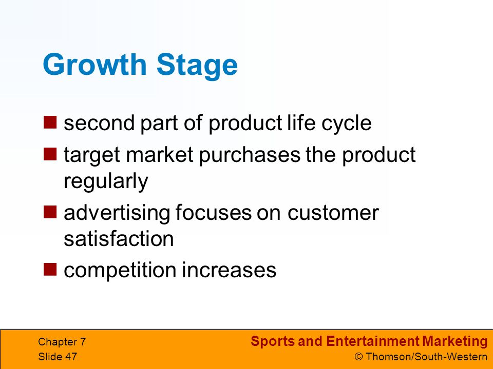 Growth Stage second part of product life cycle