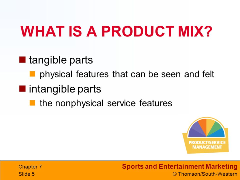 WHAT IS A PRODUCT MIX tangible parts intangible parts
