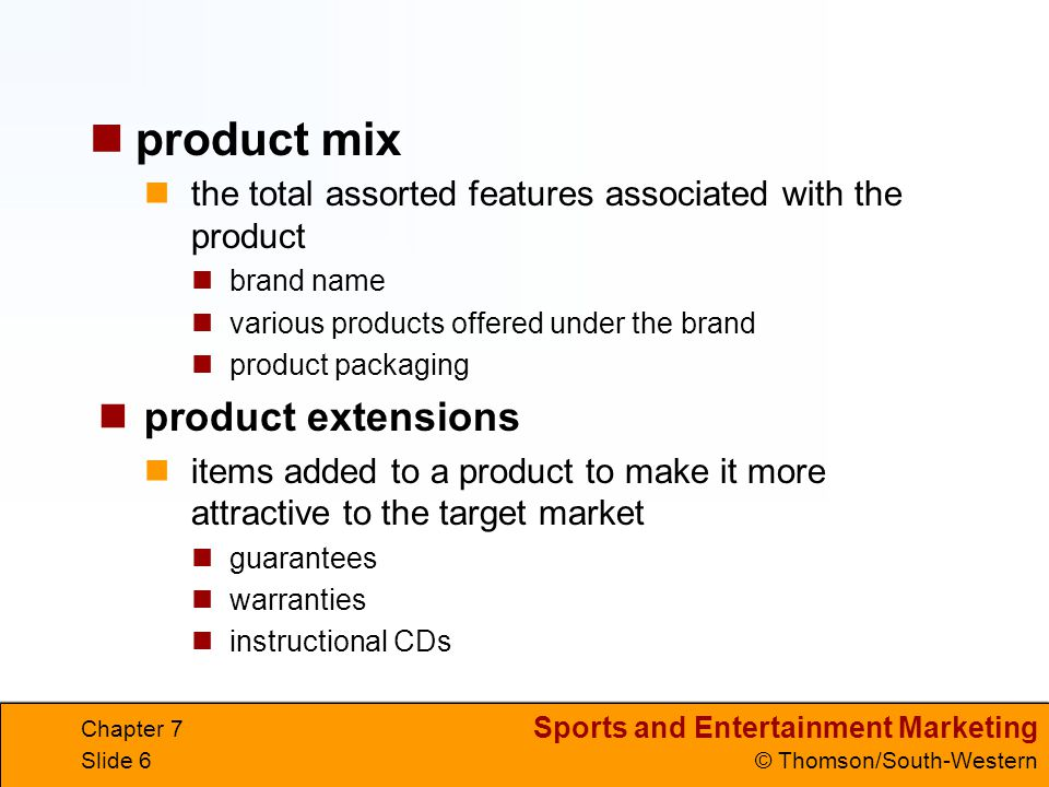 product mix product extensions
