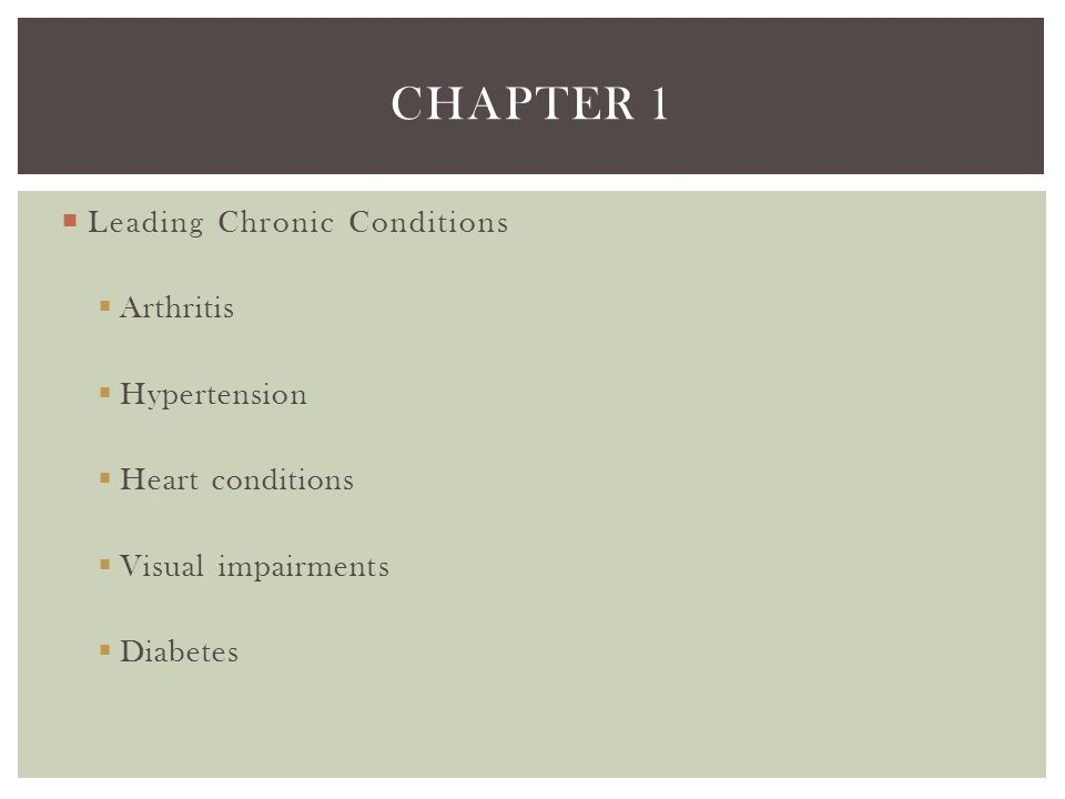 Chapter 1 Leading Chronic Conditions Arthritis Hypertension