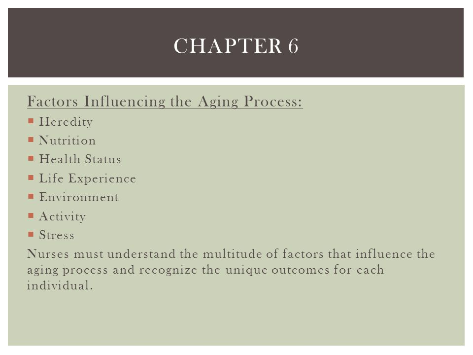 Chapter 6 Factors Influencing the Aging Process: Heredity Nutrition