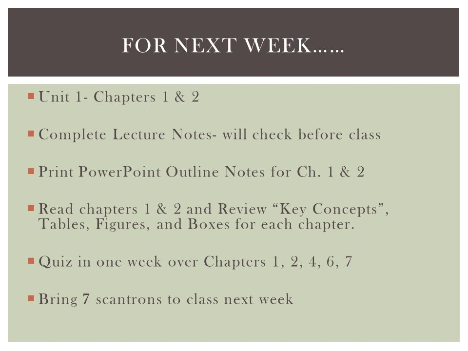 For next week…… Unit 1- Chapters 1 & 2