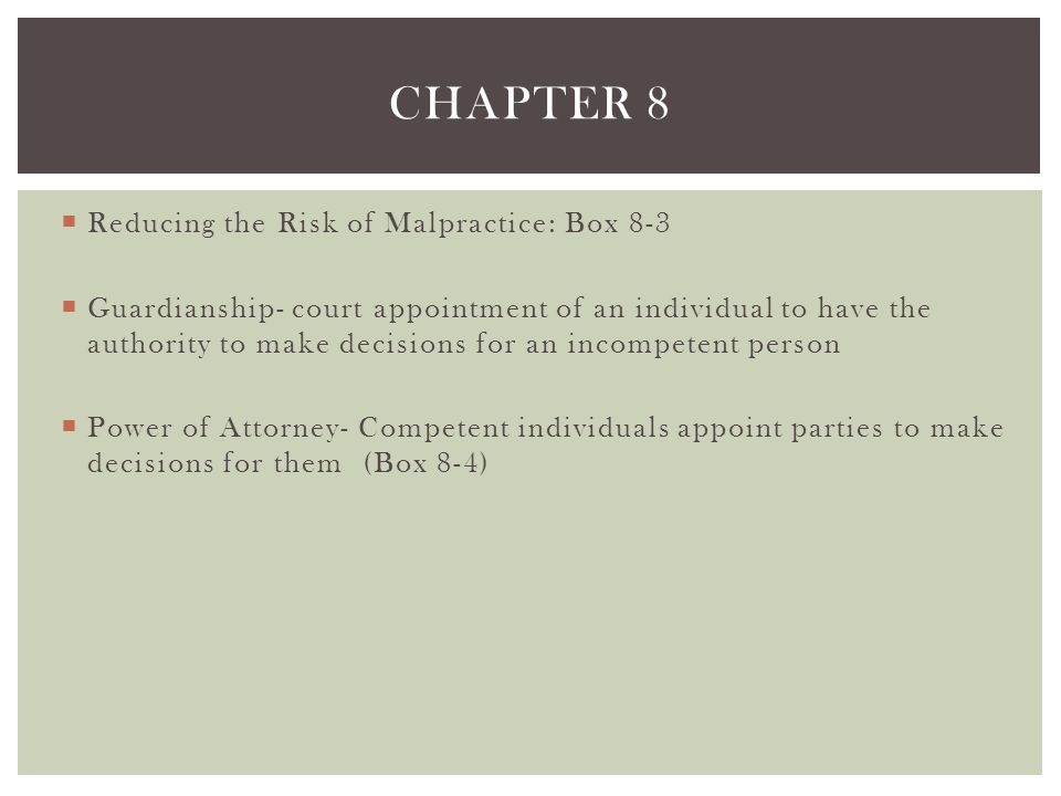 Chapter 8 Reducing the Risk of Malpractice: Box 8-3