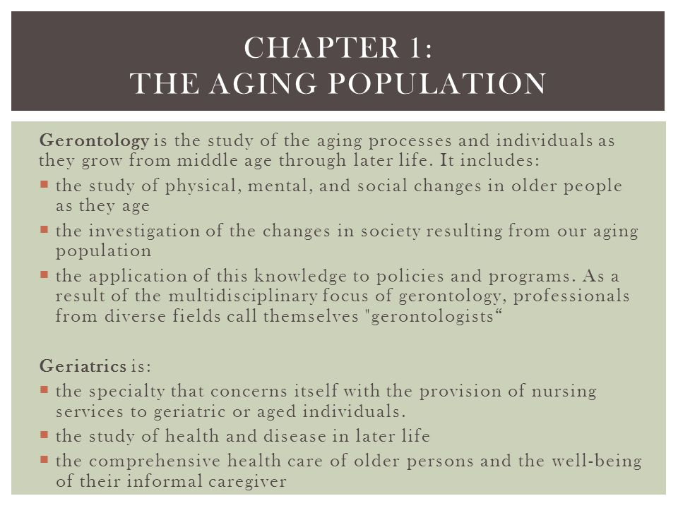 Chapter 1: The aging population