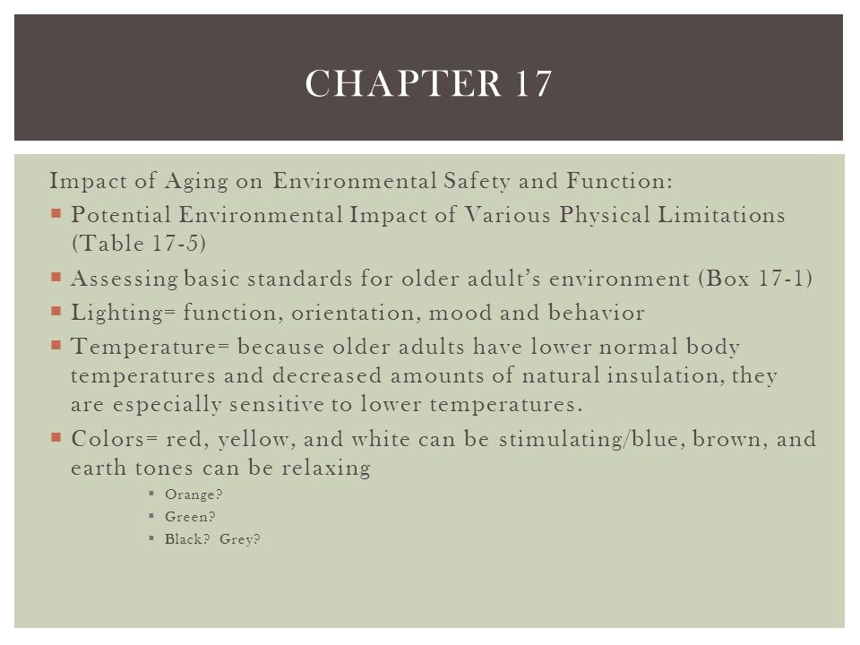 Chapter 17 Impact of Aging on Environmental Safety and Function: