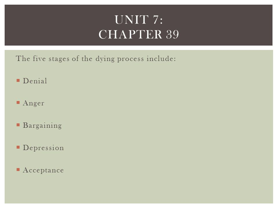 Unit 7: Chapter 39 The five stages of the dying process include: