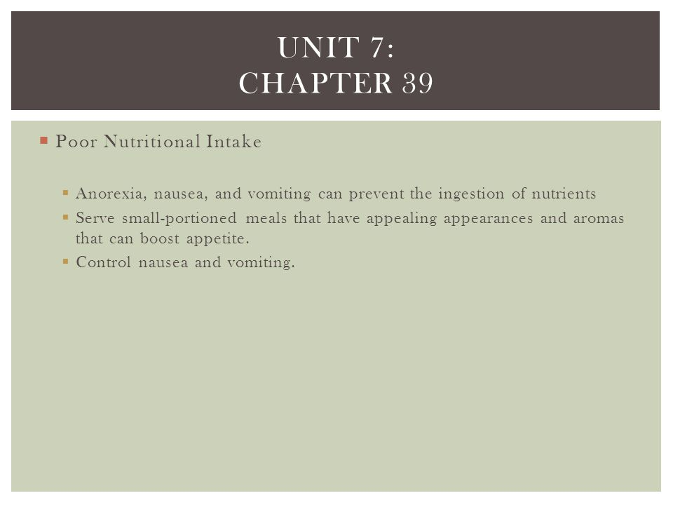 Unit 7: chapter 39 Poor Nutritional Intake