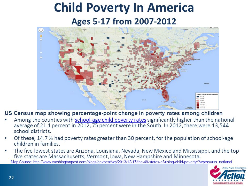 Child Poverty In America Ages 5-17 from 2007-2012