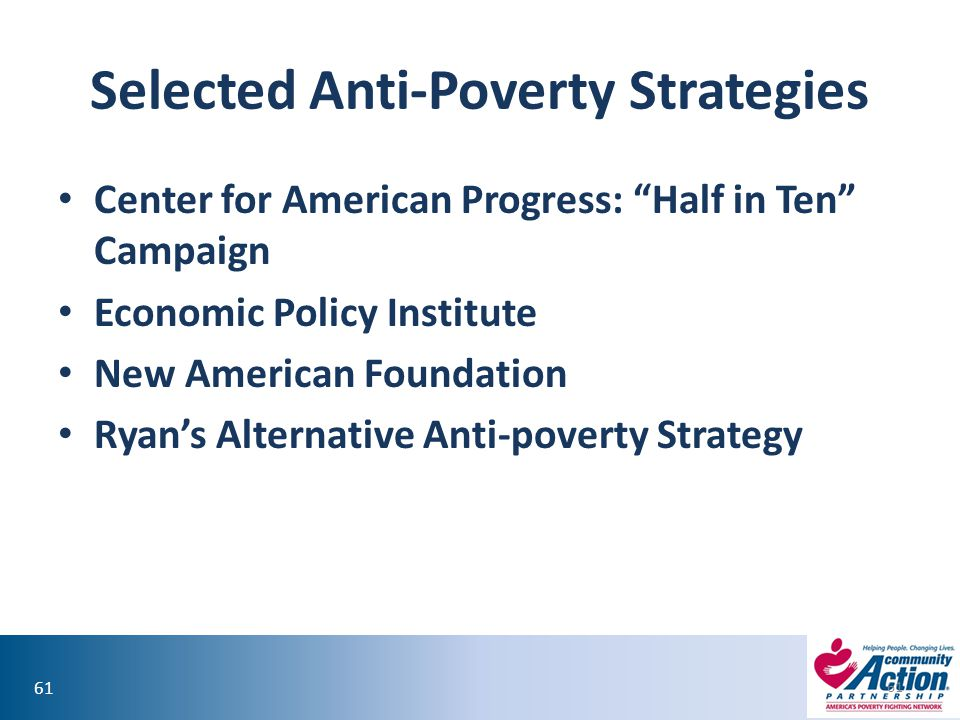 Selected Anti-Poverty Strategies
