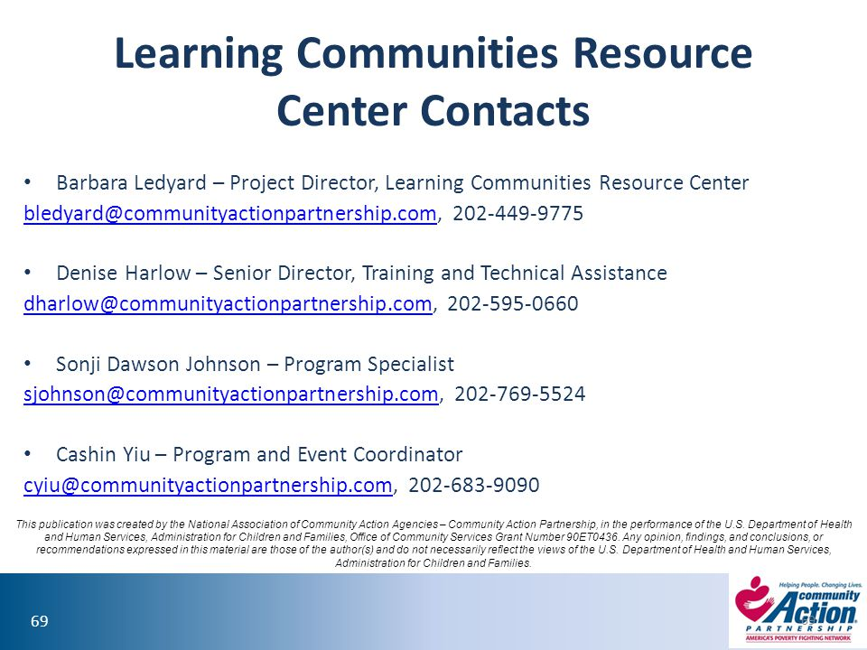 Learning Communities Resource Center Contacts