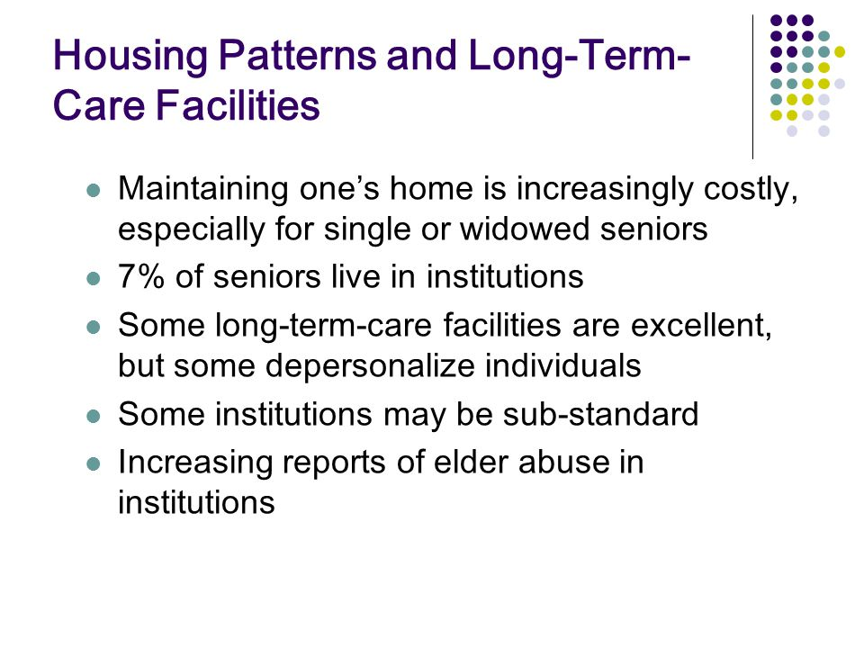 Housing Patterns and Long-Term-Care Facilities