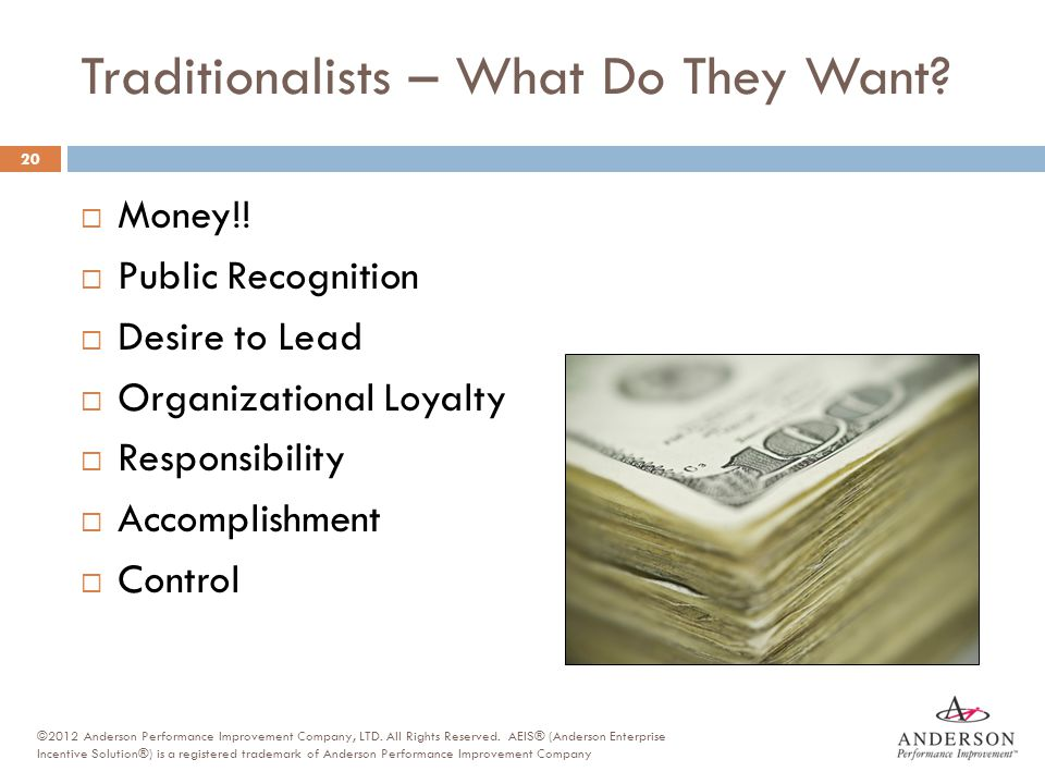 Traditionalists – What Do They Want