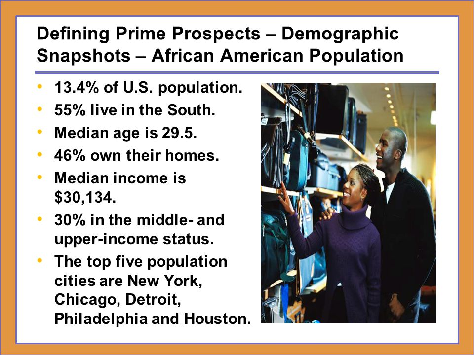 Defining Prime Prospects – Demographic Snapshots – African American Population
