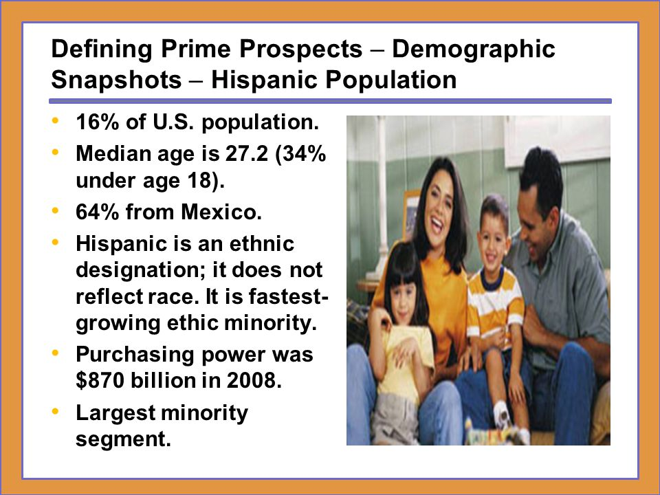 Defining Prime Prospects – Demographic Snapshots – Hispanic Population