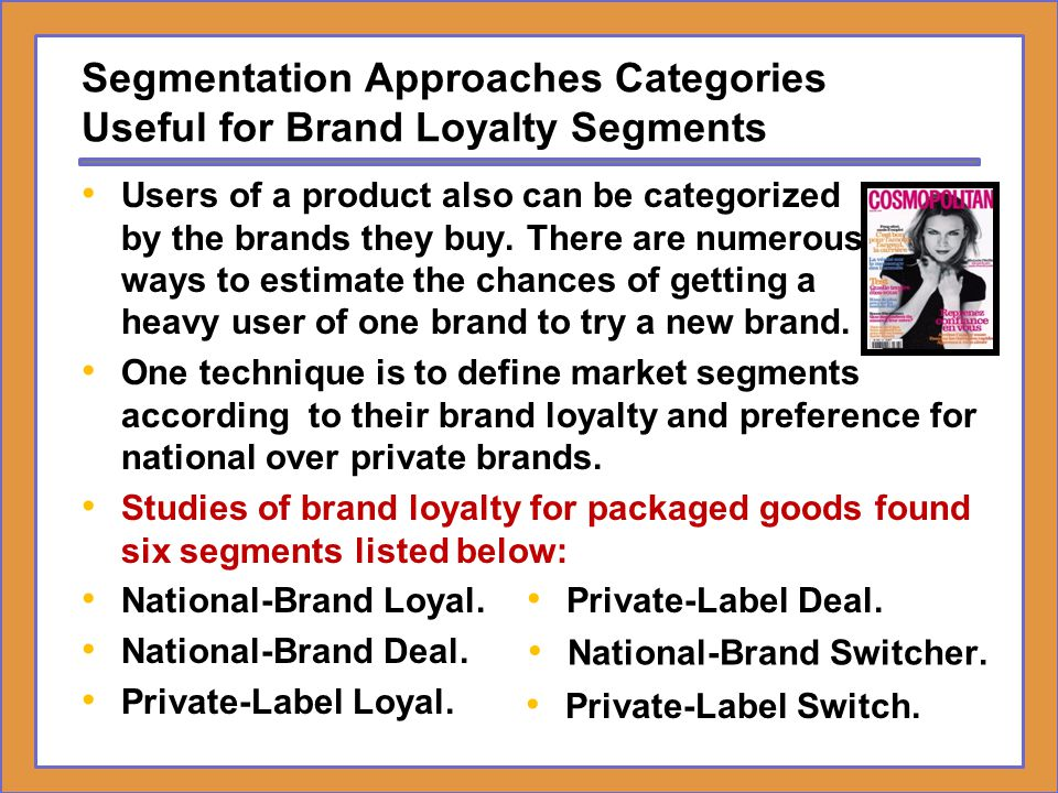 Segmentation Approaches Categories Useful for Brand Loyalty Segments