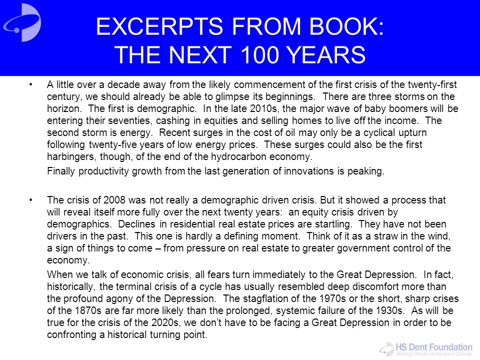 EXCERPTS FROM BOOK: THE NEXT 100 YEARS