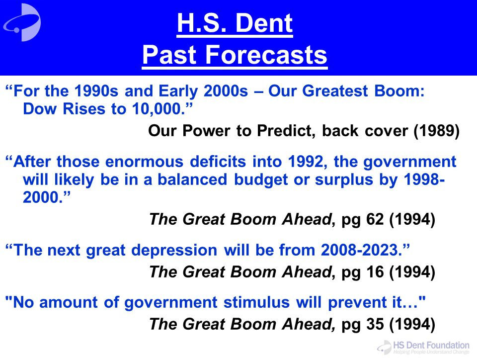 H.S. Dent Past Forecasts For the 1990s and Early 2000s – Our Greatest Boom: Dow Rises to 10,000. Our Power to Predict, back cover (1989)