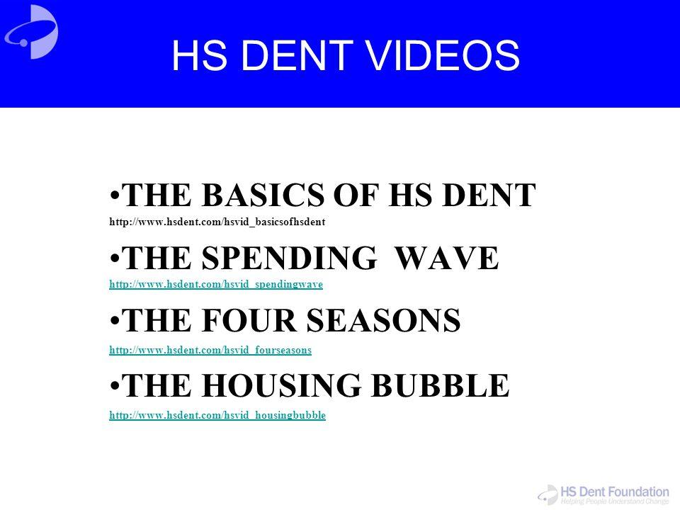 HS DENT VIDEOS THE BASICS OF HS DENT http://www.hsdent.com/hsvid_basicsofhsdent. THE SPENDING WAVE http://www.hsdent.com/hsvid_spendingwave.