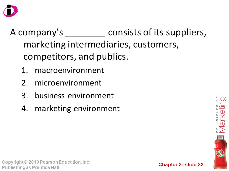 A company's ________ consists of its suppliers, marketing intermediaries, customers, competitors, and publics.