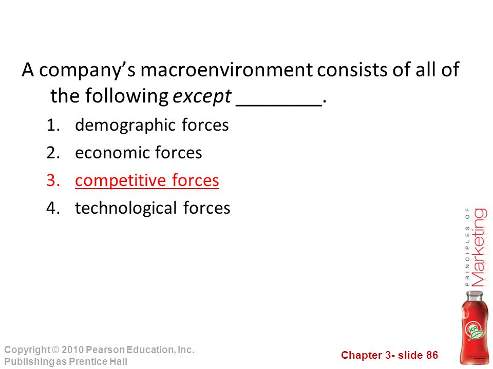 A company's macroenvironment consists of all of the following except ________.