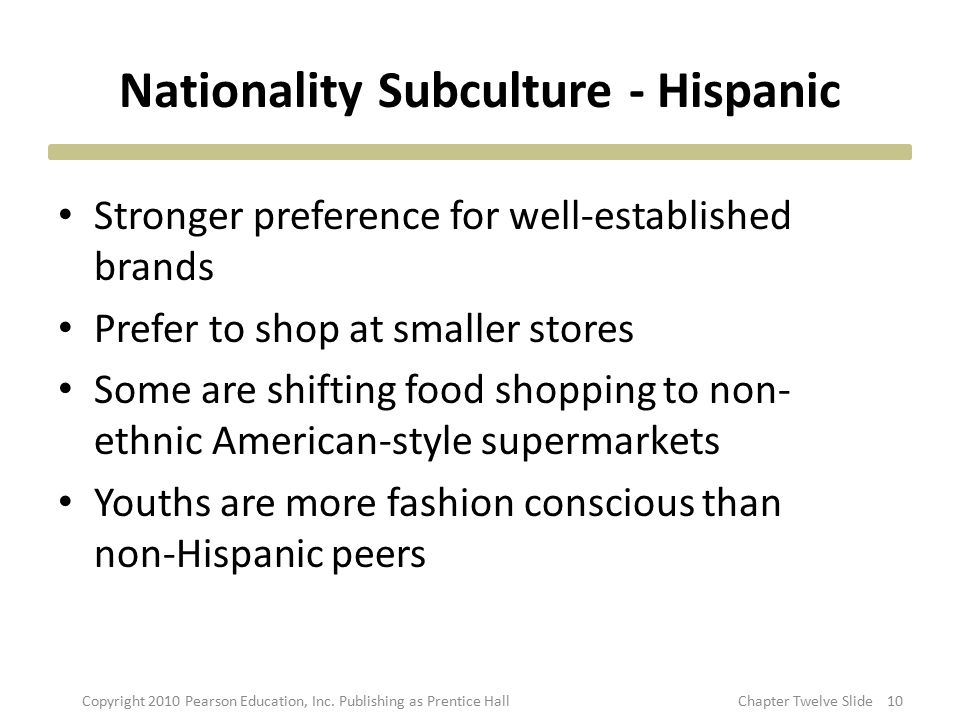 Nationality Subculture - Hispanic