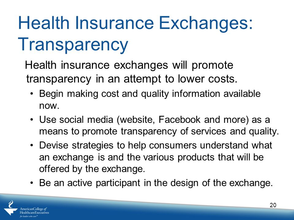 Health Insurance Exchanges: Transparency