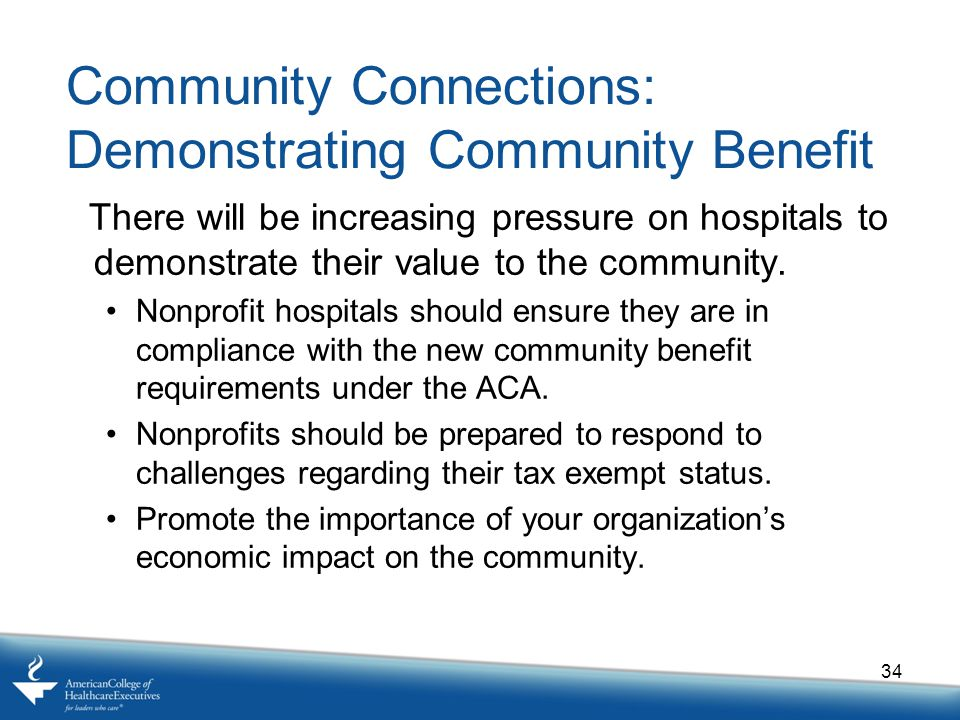 Community Connections: Demonstrating Community Benefit