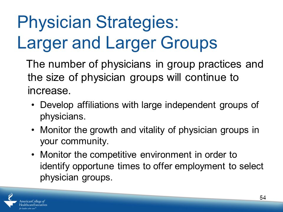 Physician Strategies: Larger and Larger Groups