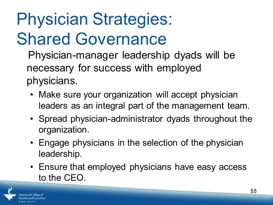 Physician Strategies: Shared Governance