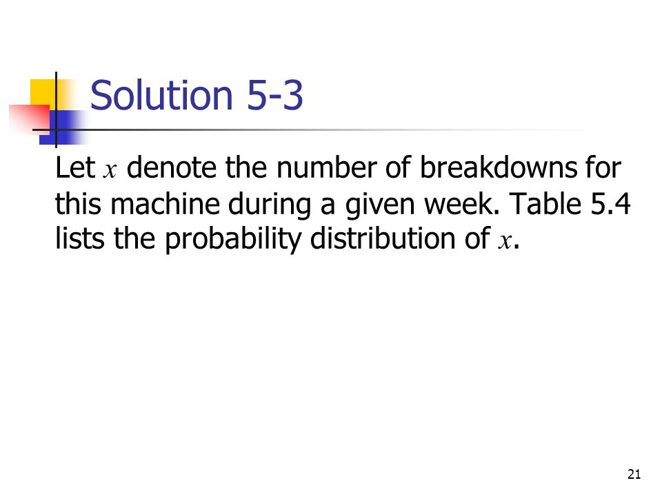 Solution 5-3 Let x denote the number of breakdowns for this machine during a given week.