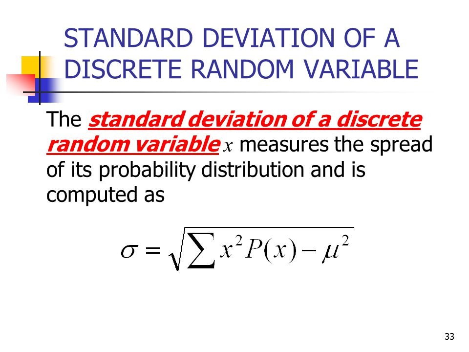STANDARD DEVIATION OF A DISCRETE RANDOM VARIABLE