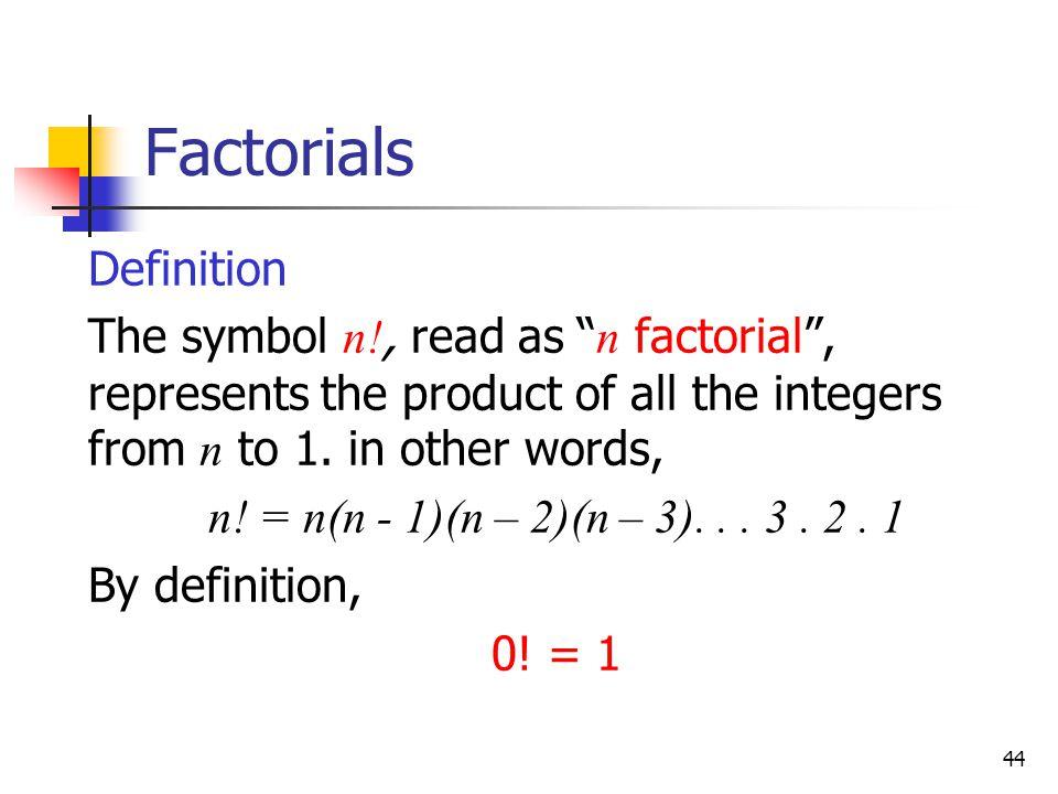 Factorials Definition