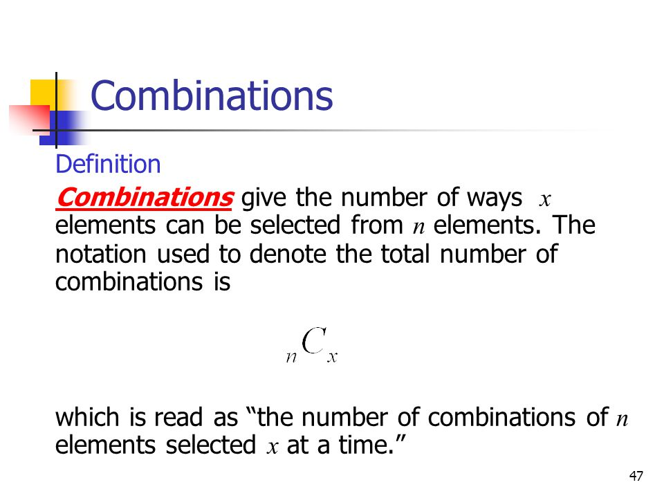 Combinations Definition