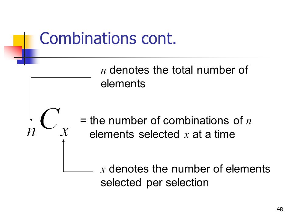 Combinations cont. n denotes the total number of elements