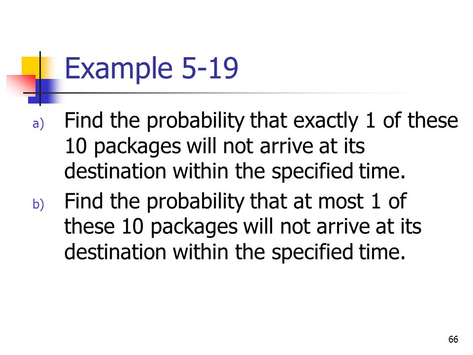 Example 5-19 Find the probability that exactly 1 of these 10 packages will not arrive at its destination within the specified time.