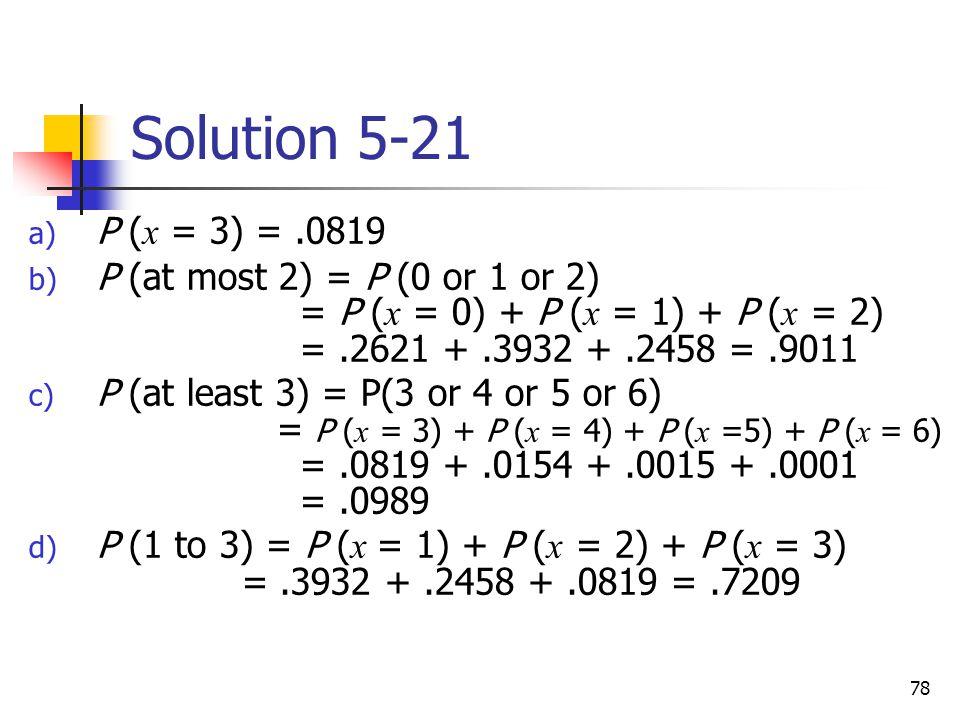Solution 5-21 P (x = 3) = .0819.