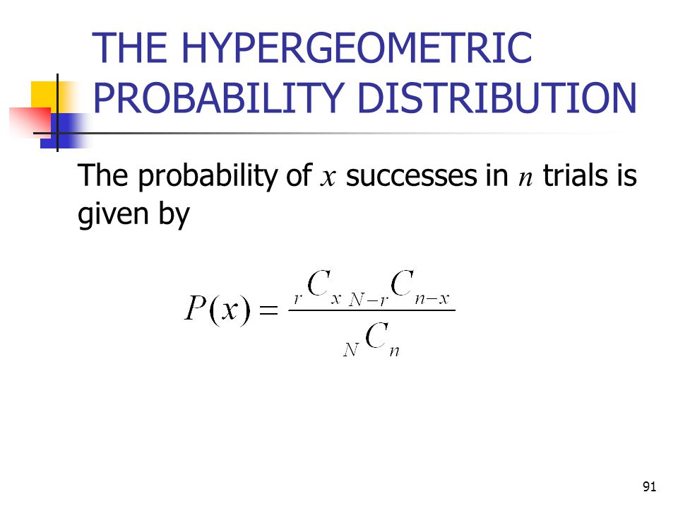 THE HYPERGEOMETRIC PROBABILITY DISTRIBUTION