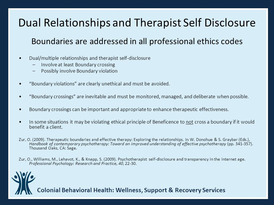 Dual Relationships and Therapist Self Disclosure