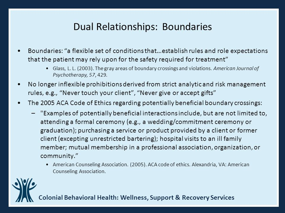 dual relationships and boundaries A dual or multiple role is when a therapist is in a professional role with  on dual  relationships, multiple relationships, and boundary decisions.