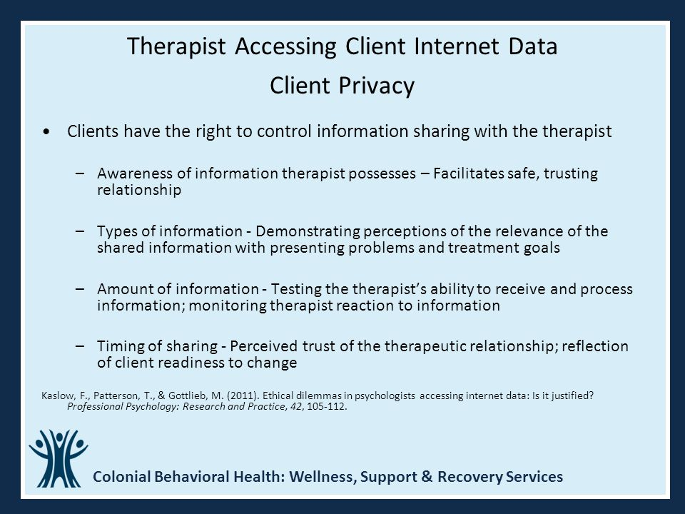 Therapist Accessing Client Internet Data Client Privacy