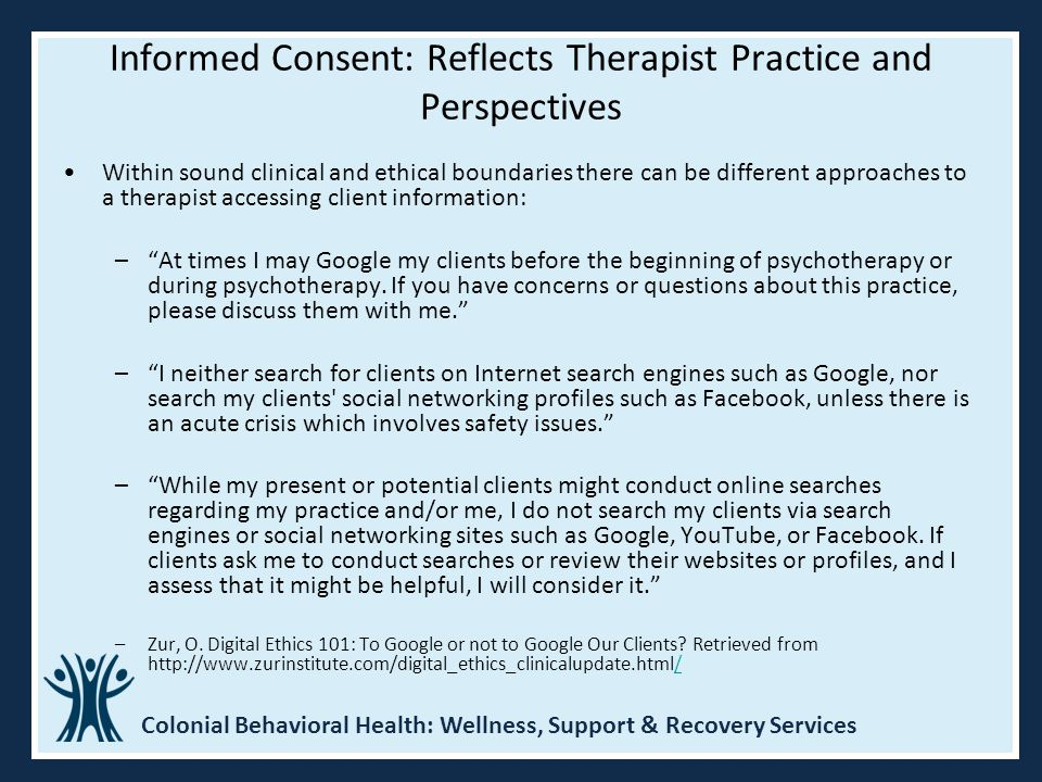 Informed Consent: Reflects Therapist Practice and Perspectives