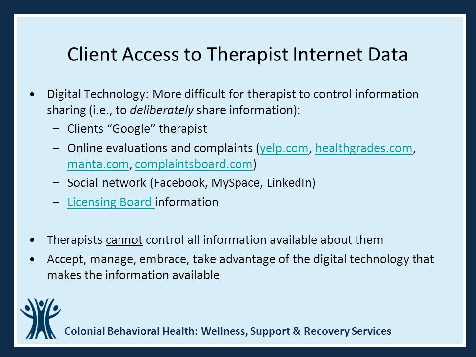 Client Access to Therapist Internet Data