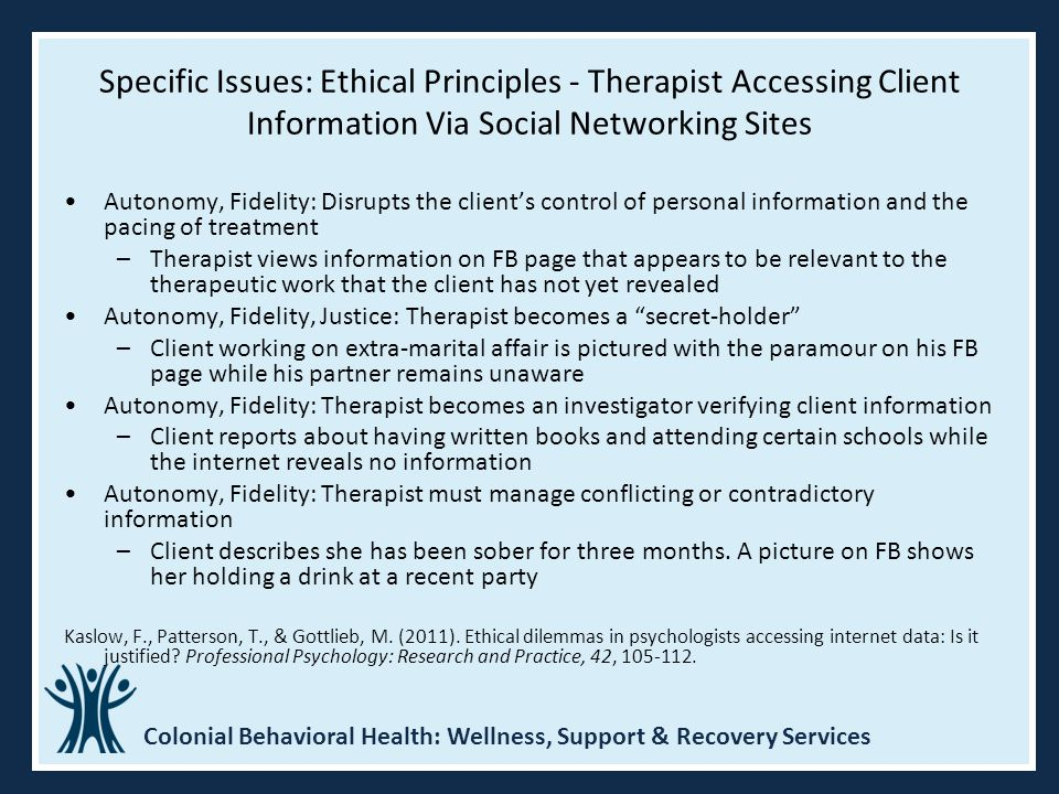 Specific Issues: Ethical Principles - Therapist Accessing Client Information Via Social Networking Sites