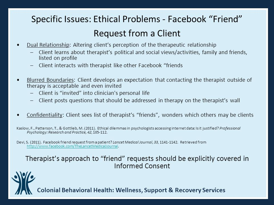 Specific Issues: Ethical Problems - Facebook Friend Request from a Client