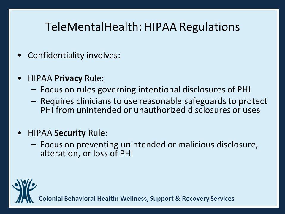 TeleMentalHealth: HIPAA Regulations