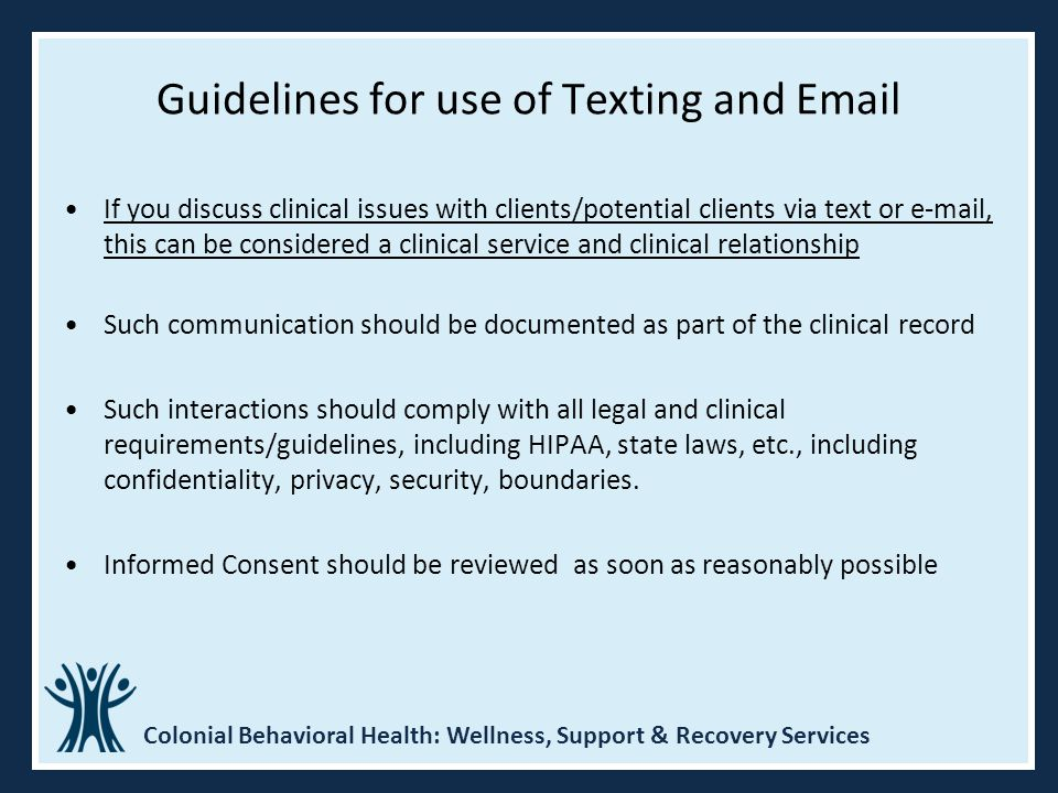 Guidelines for use of Texting and Email