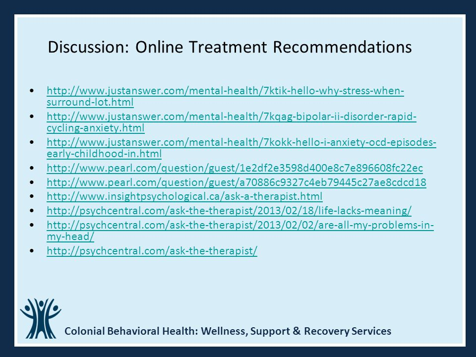 Discussion: Online Treatment Recommendations
