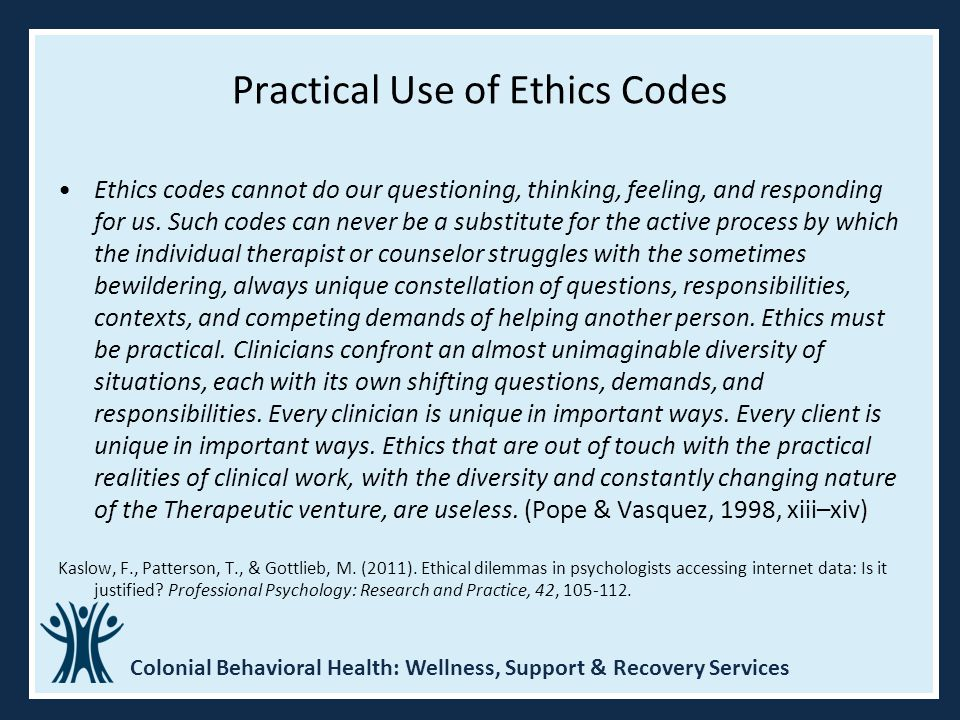 Practical Use of Ethics Codes